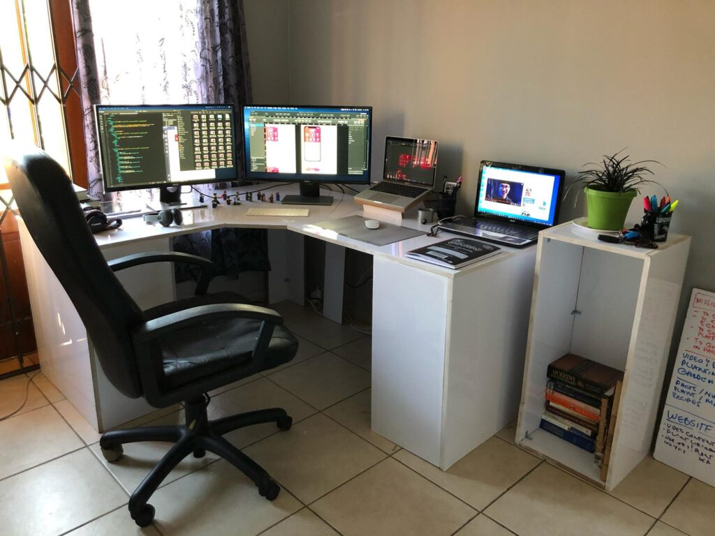 A home office with a range of ergonomic office furniture