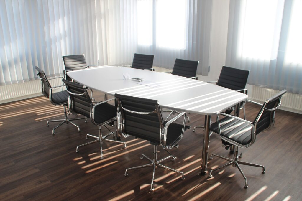 An image of office chairs and a table