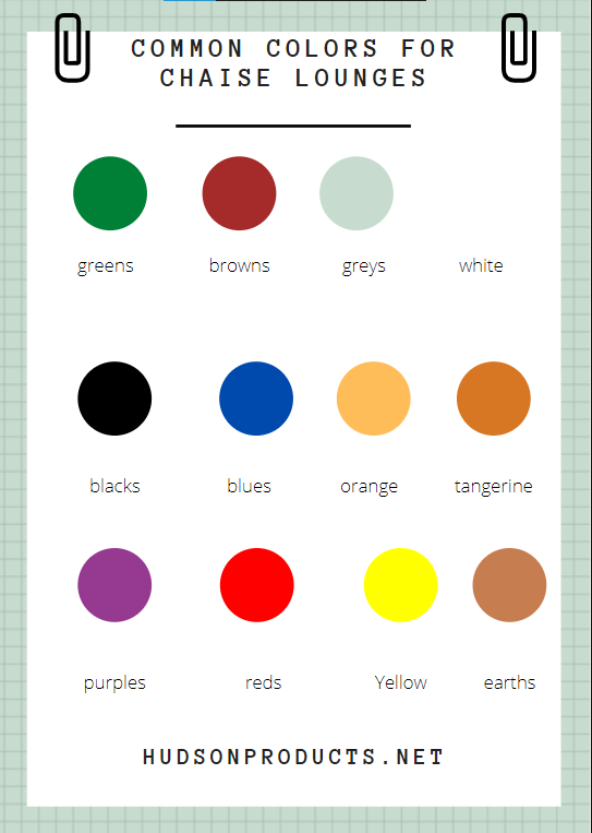A color chart showing different colors for chaise lounges