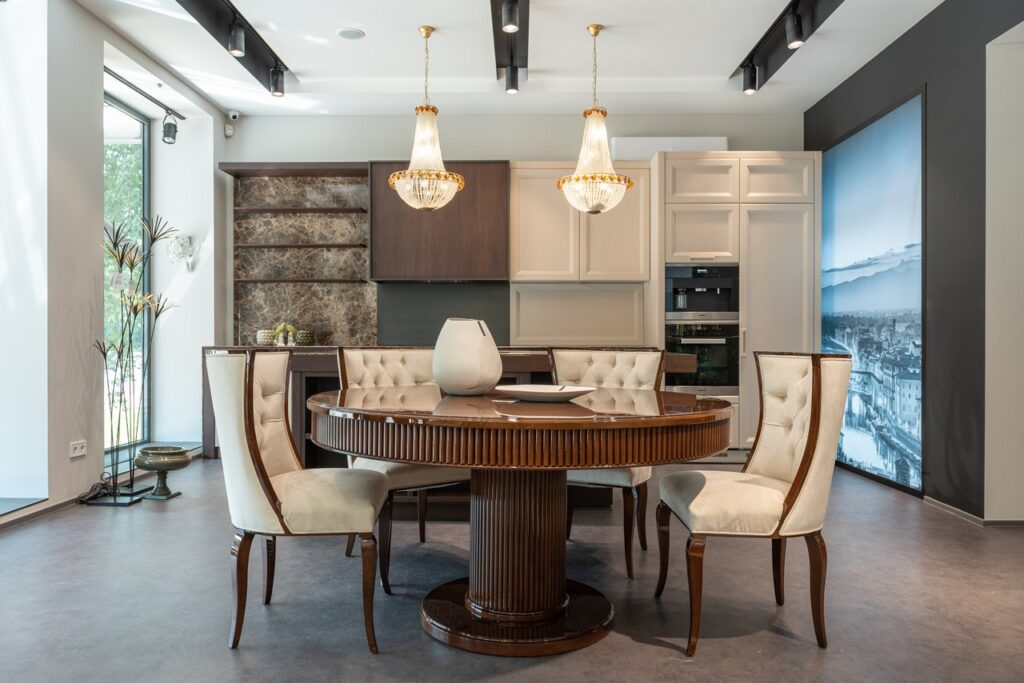 A dining room with new furniture